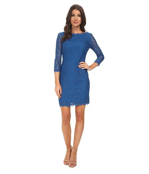 Adrianna Papell - L/S Lace Dress (Cobalt) Women