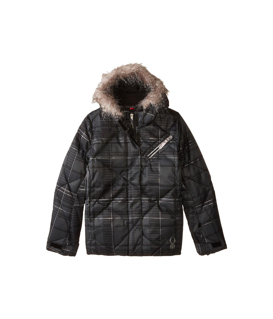 Spyder Kids - Hottie Jacket (Big Kids) (Black Check Plaid Print/Black) Girl's Coat
