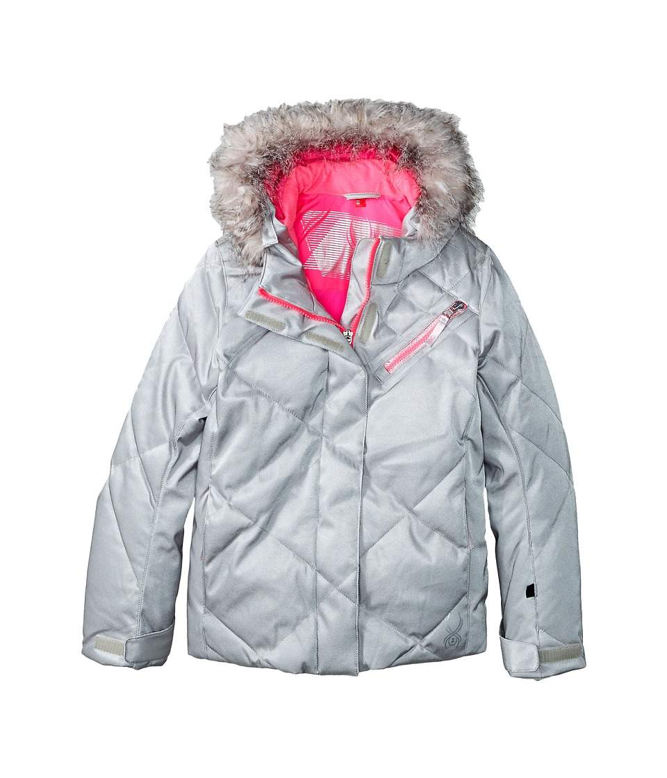 Spyder Kids - Hottie Jacket (Big Kids) (Silver/Bryte Bubblegum) Girl's Coat