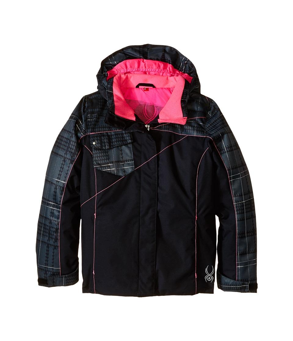 Spyder Kids - Dreamer Jacket (Big Kids) (Black/Black Check Plaid Print/Bryte Bubblegum) Girl's Coat
