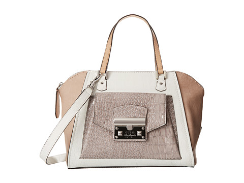 guess alma mater uptown satchel white multi satchel handbags on sale