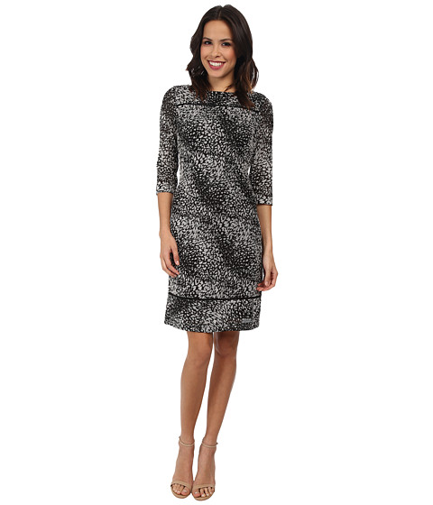 Adrianna Papell - Dart Release Print Dress (Black Ivory) Women's Dress