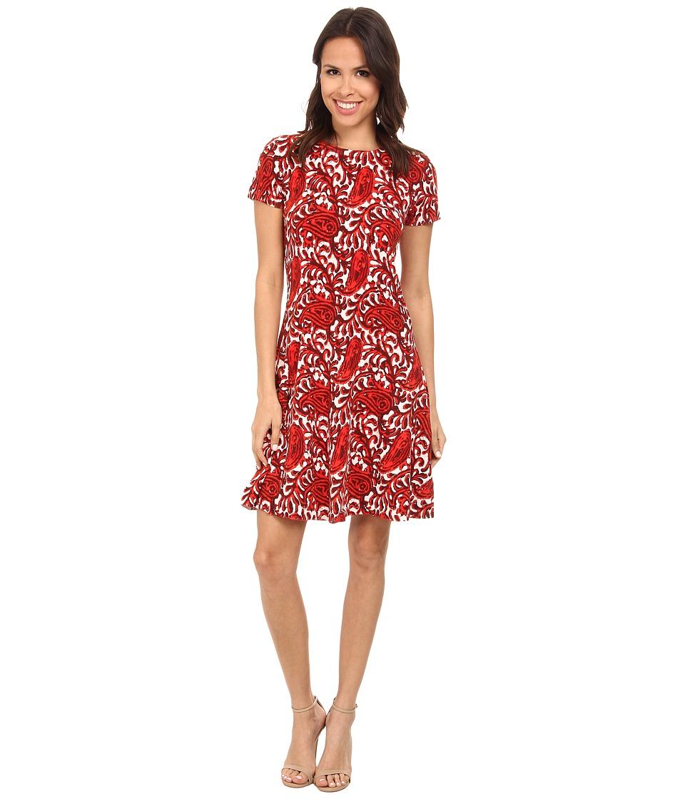 MICHAEL Michael Kors - Printed Flare Sweater Dress (Grenadine) Women's Dress