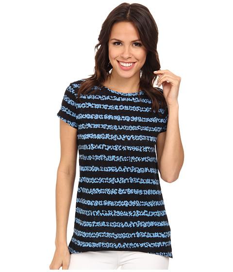 MICHAEL Michael Kors - Dala Printed Cap Sleeve Top (Heritage Blue/New Navy) Women's Blouse