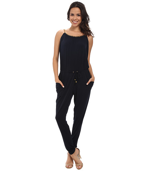 MICHAEL Michael Kors - Chain Neck Peg Leg Jumpsuit (New Navy) Women's Jumpsuit & Rompers One Piece