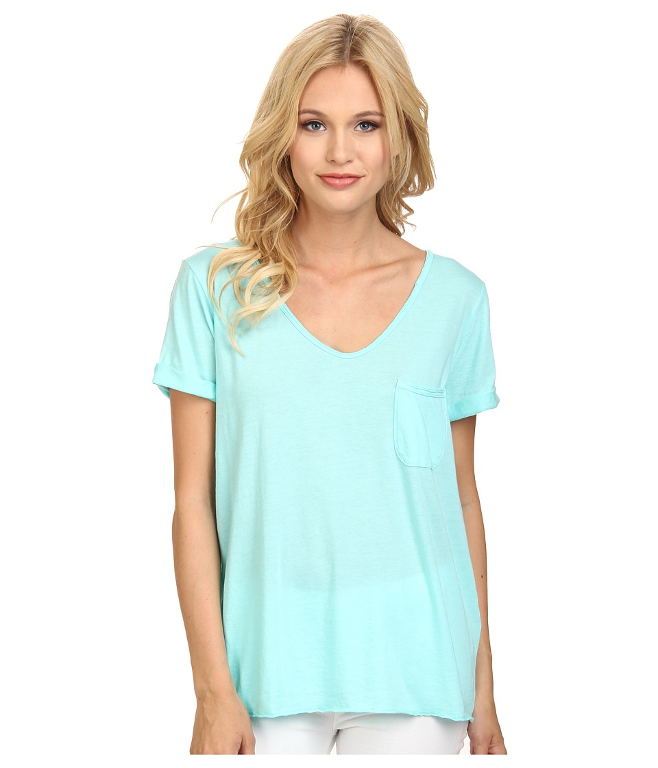 Three Dots Pocket Tee w/ Raw Details (Aqua Mint) Women