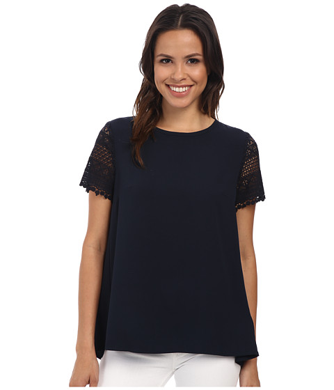 MICHAEL Michael Kors - Crochet Sleeve Pleat Back Shirt (New Navy) Women