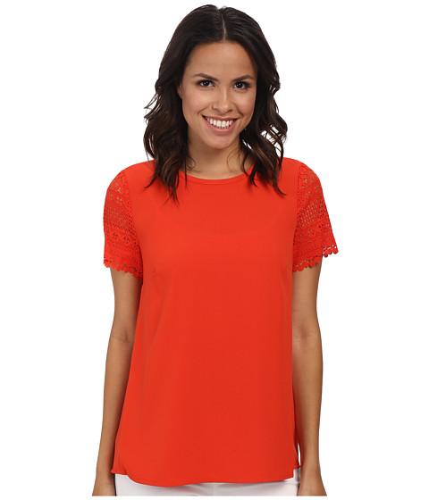 MICHAEL Michael Kors - Crochet Sleeve Pleat Back Shirt (Grenadine) Women's Blouse