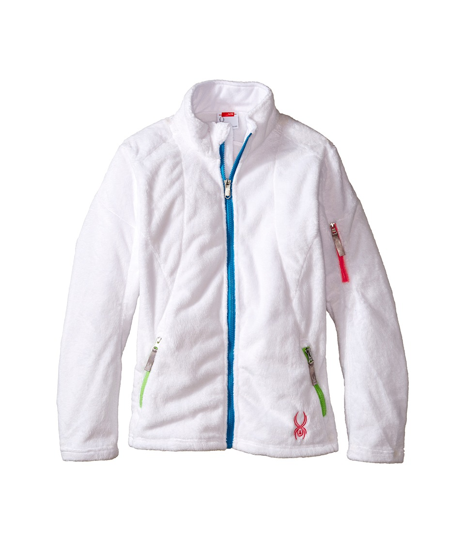 Spyder Kids - Caliper Fleece Jacket (Little Kids/Big Kids) (White/Green Flash/Riviera) Girl's Fleece