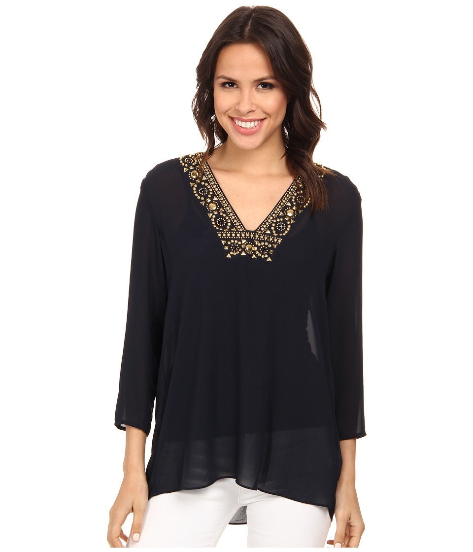 MICHAEL Michael Kors - Embellished Neckline Top (New Navy) Women's Clothing