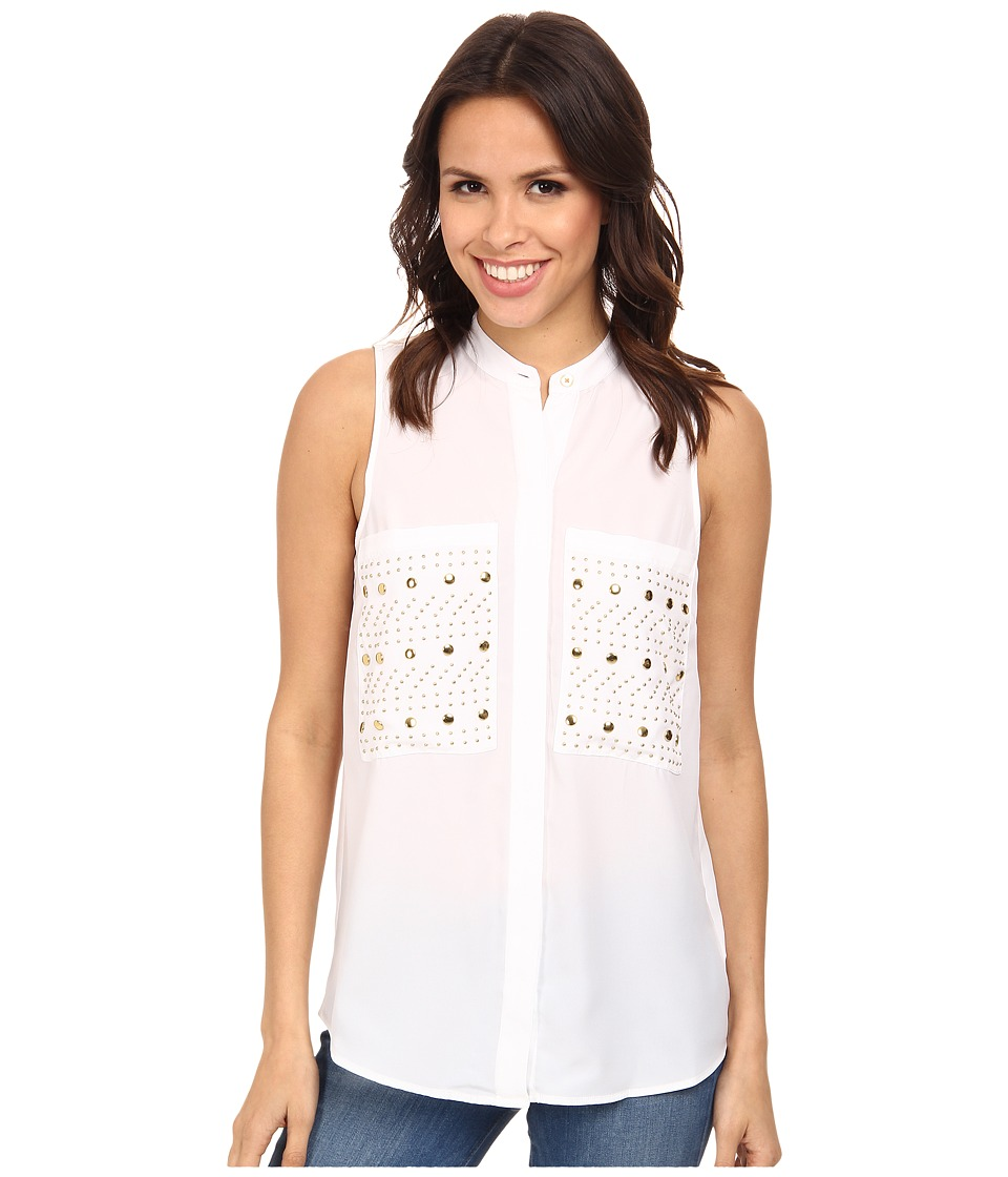 MICHAEL Michael Kors - Embellished Pocket Sleeveless Button Down Shirt (White/Gold) Women's Clothing