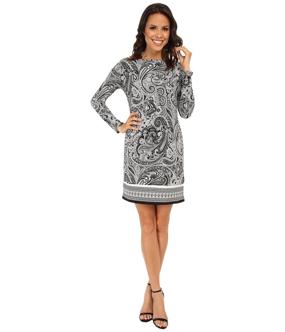 MICHAEL Michael Kors - Ashbury Long Sleeve Boat Neck Border Dress (Black/White) Women's Dress