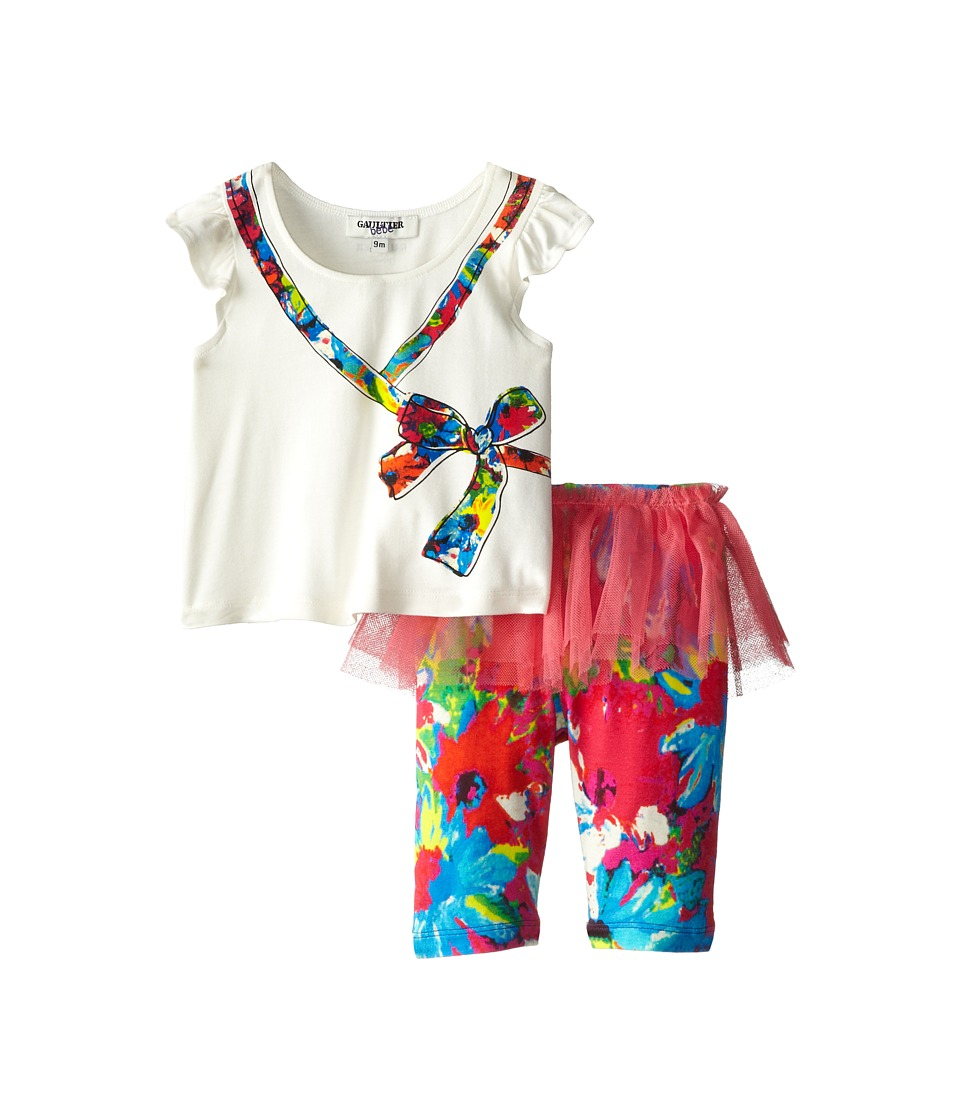 Junior Gaultier - Ribbon Shirt with Skirt and Leggings Set (Infant/Toddler) (Ecru) Girl's Active Sets