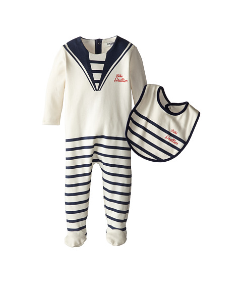 Junior Gaultier - Striped Bebe Gaultier Footie and Bib Set (Infant) (Ecru) Boy
