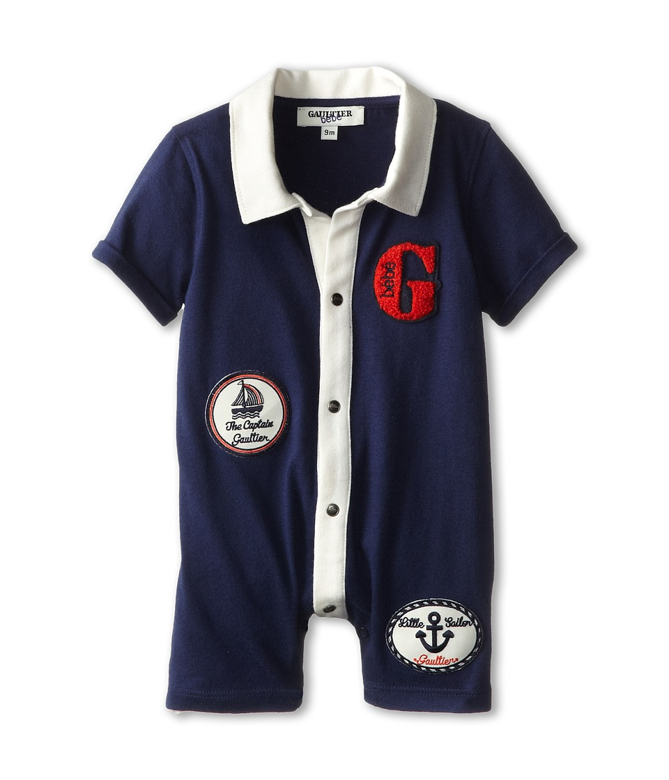 Junior Gaultier - Patched Collared Romper (Infant) (Marine Blue) Boy's Jumpsuit & Rompers One Piece
