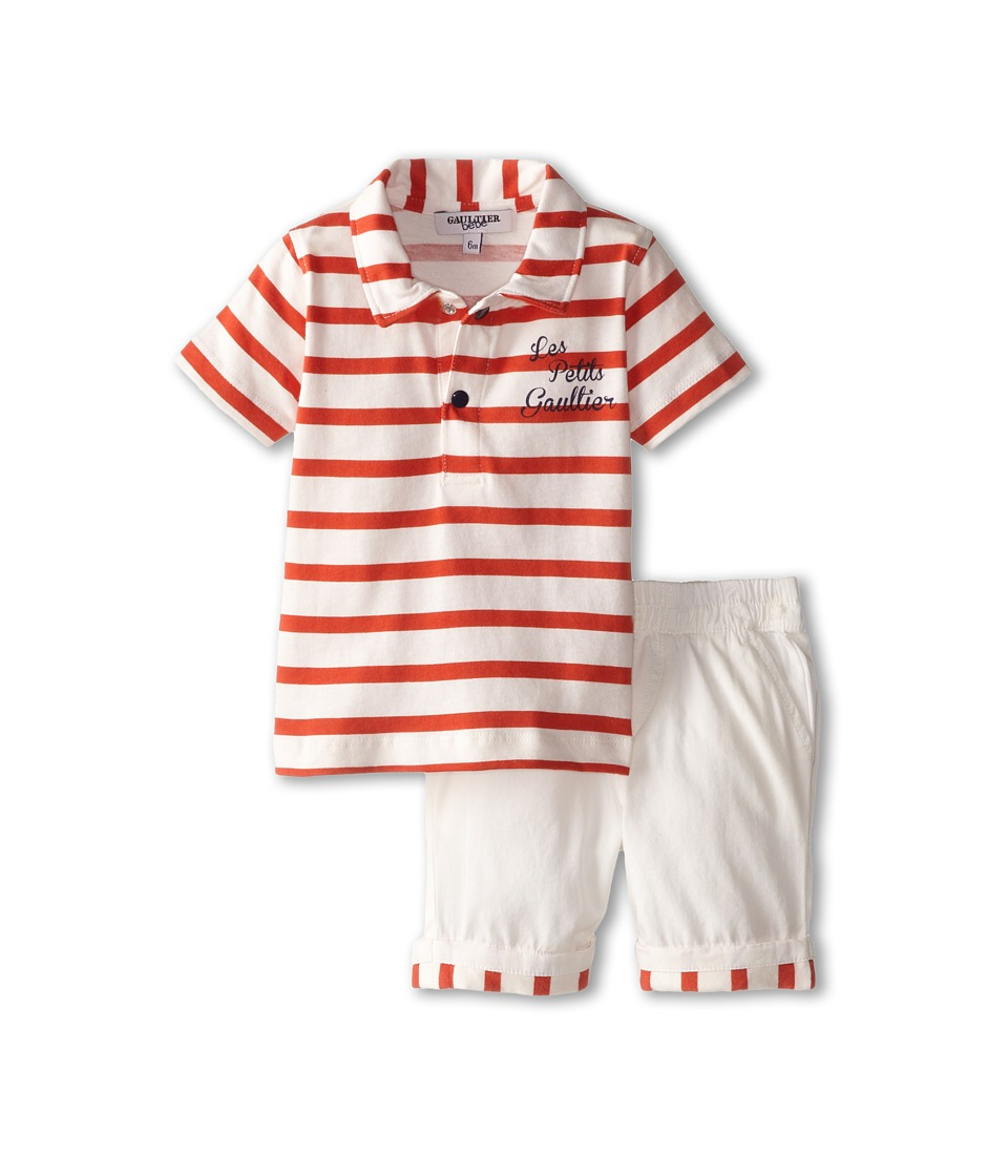 Junior Gaultier - Red Striped Polo and Shorts Set (Infant) (Ecru) Boy's Active Sets