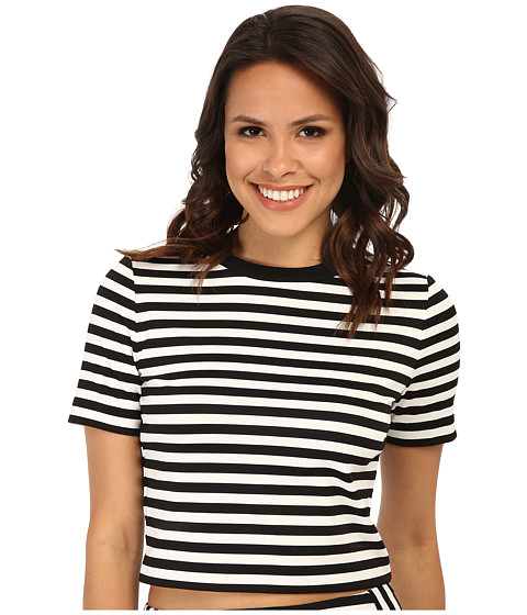 MICHAEL Michael Kors - Short Sleeve Stripe Printed Crop Top (Black) Women's Clothing