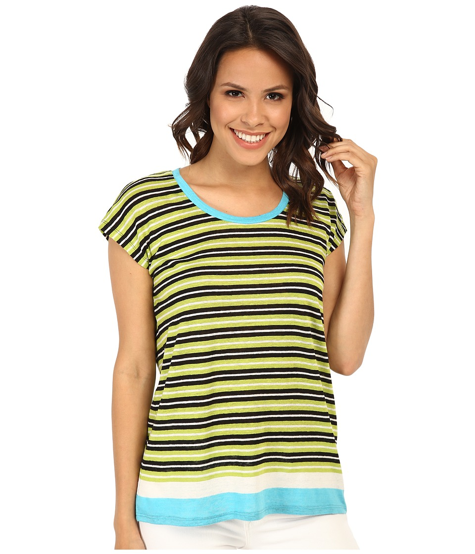 MICHAEL Michael Kors - Stripe Scoop Boxy Top (Pear) Women's T Shirt