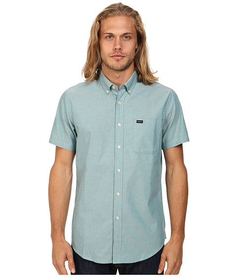 RVCA - That'll Do Oxford S/S (Harbor Blue) Men's Short Sleeve Button Up