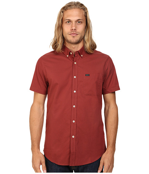 RVCA - That'll Do Oxford S/S (Rosewood) Men's Short Sleeve Button Up