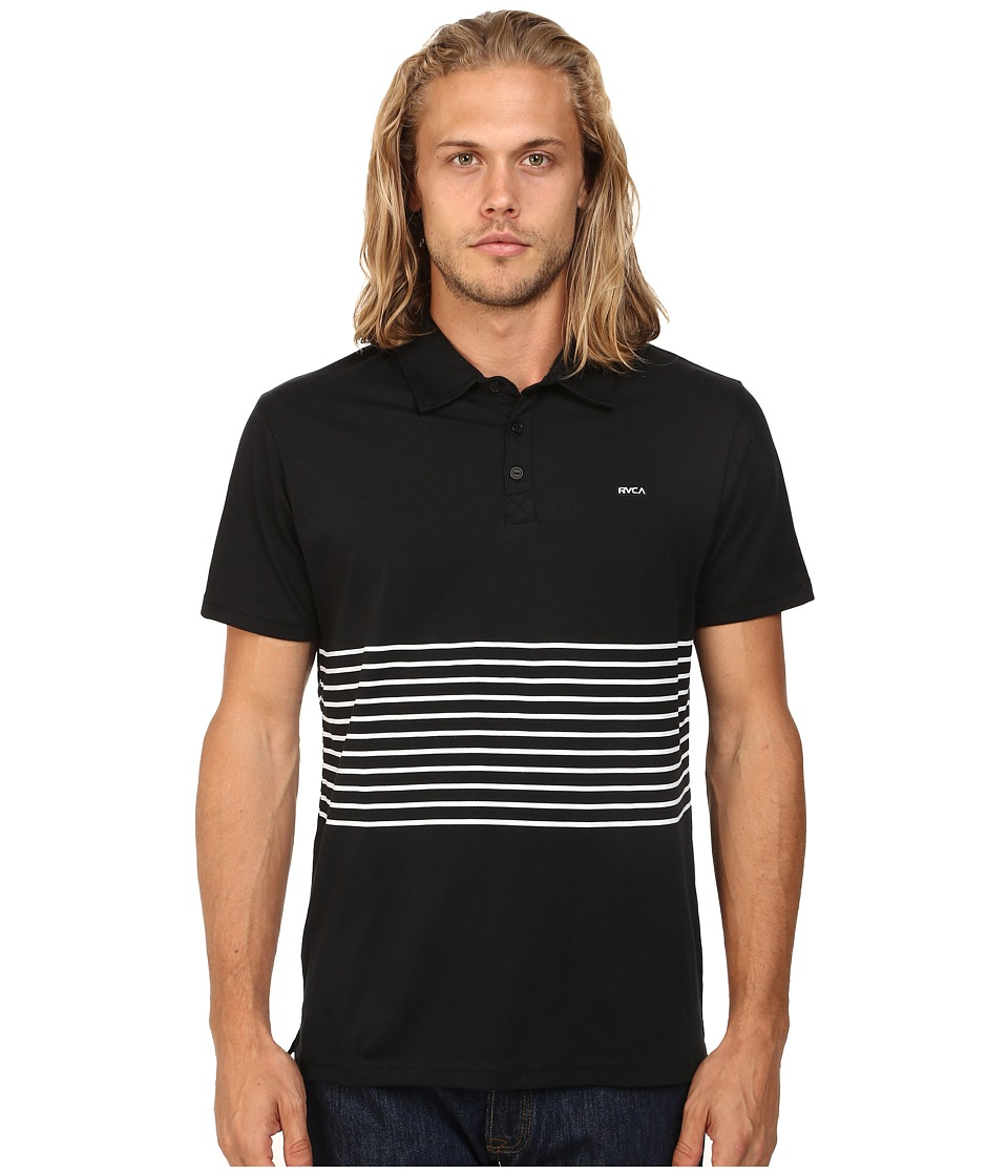 RVCA - Sure Thing Striped Polo (Black) Men's Clothing