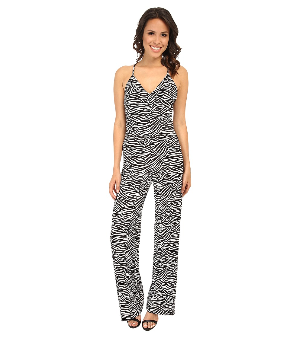 MICHAEL Michael Kors - Small Zebra Wide Leg Jumpsuit (Black) Women's Jumpsuit & Rompers One Piece