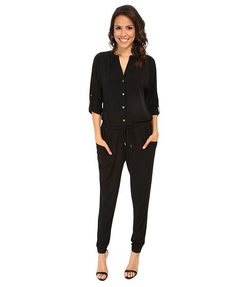MICHAEL Michael Kors - Roll Sleeve Raglan Jumpsuit (Black/Gold) Women