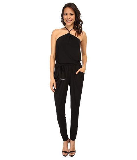 MICHAEL Michael Kors - Logo Tube Halter Jumpsuit (Black/Silver) Women