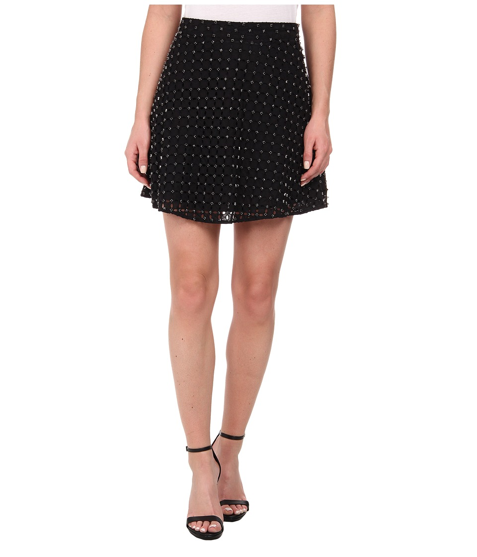 MICHAEL Michael Kors - Floral Eyelet Circle Skirt (Black) Women's Skirt