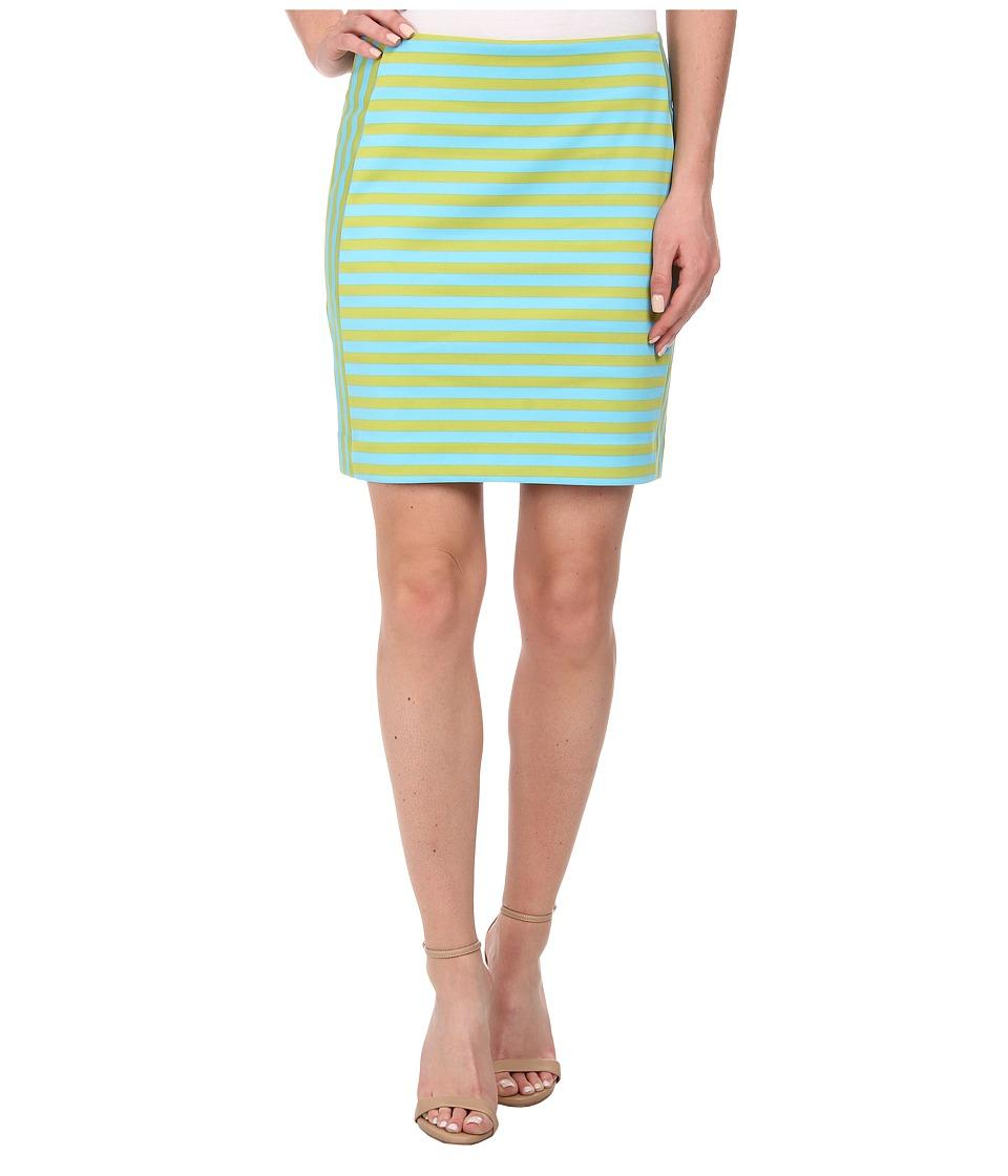 MICHAEL Michael Kors - Stripe Ponte Zip Skirt (Pear/Peacock) Women's Skirt