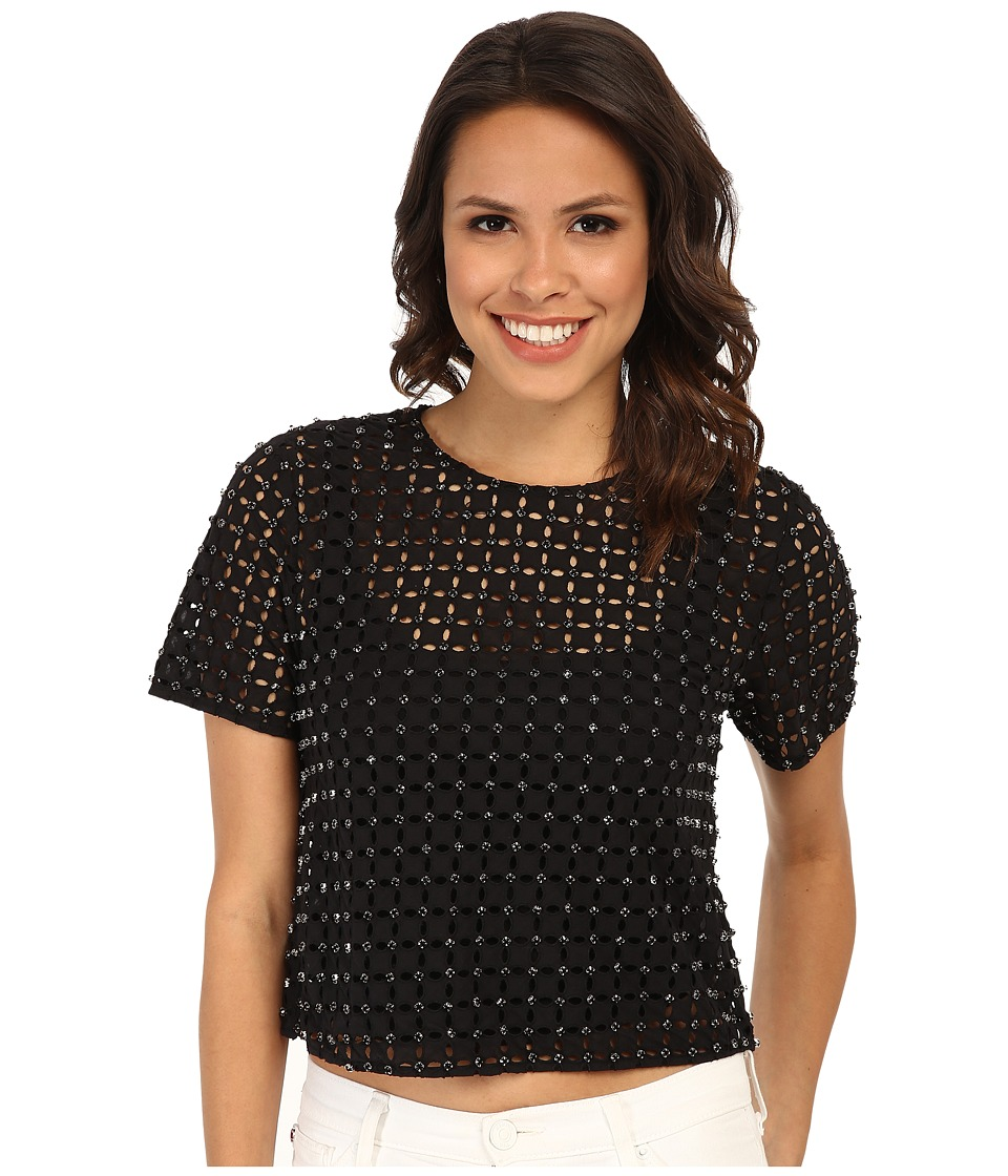 MICHAEL Michael Kors - Eyelet Rhinestone Top (Black) Women's Blouse