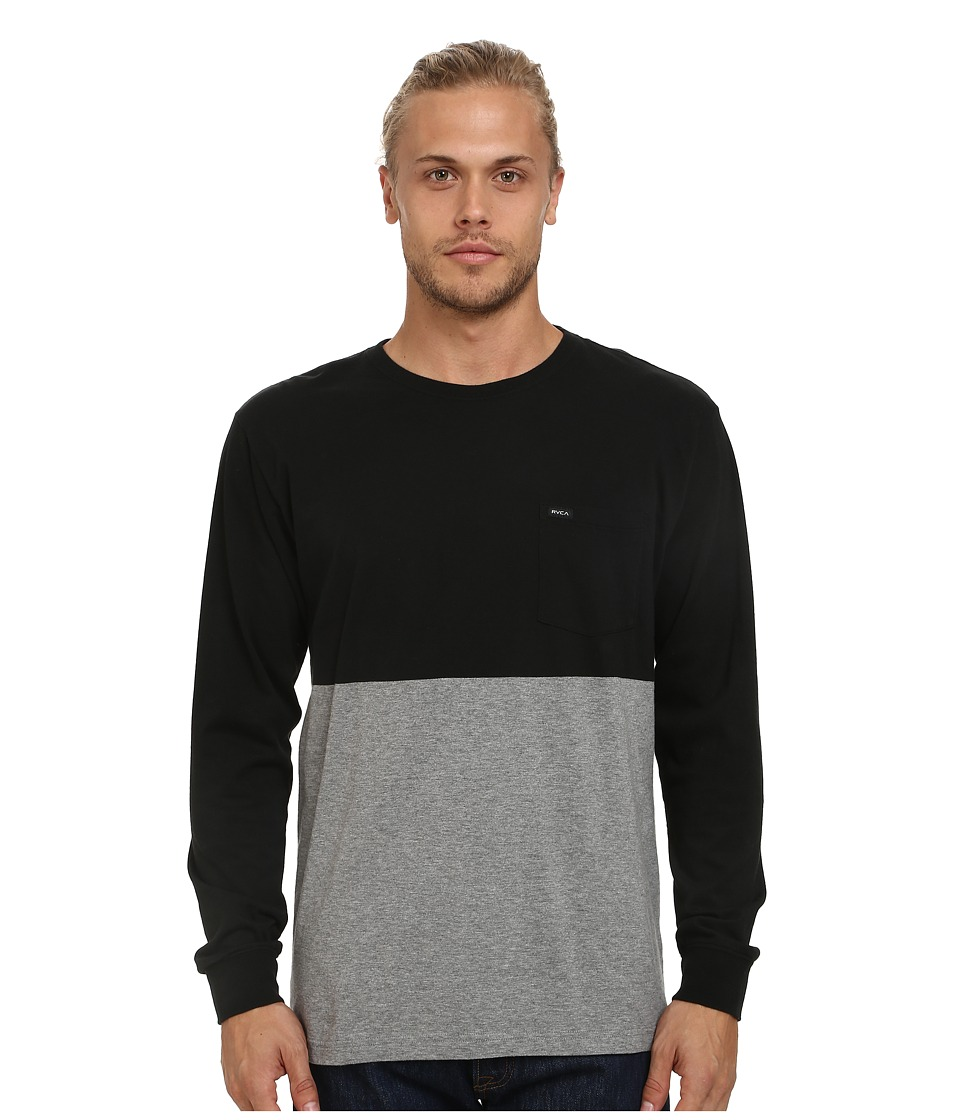 RVCA - Halfway Long Sleeve Crew (Black) Men's Long Sleeve Pullover