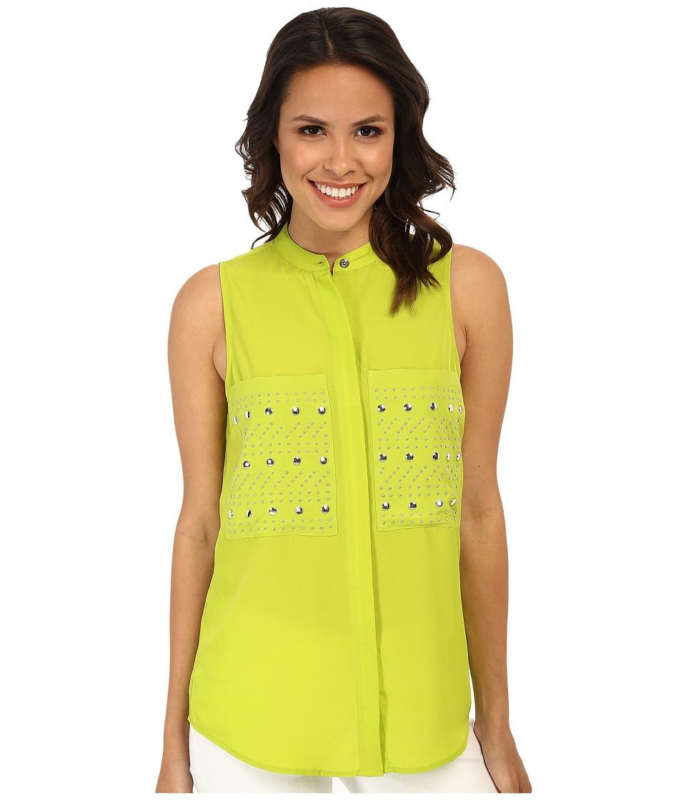 MICHAEL Michael Kors - Embellished Pocket Sleeveless Button Down Shirt (Pear) Women