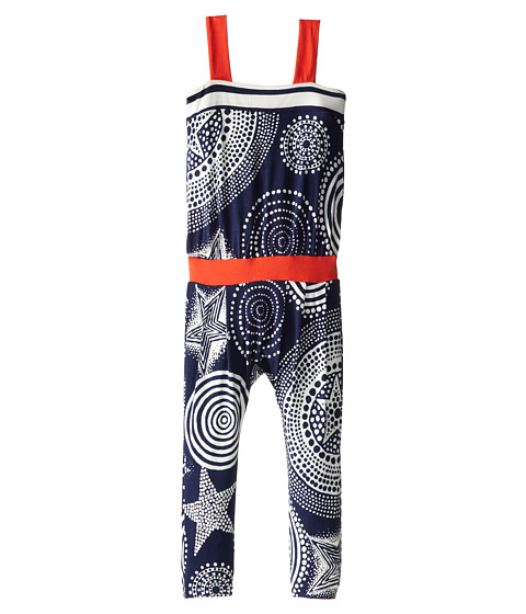 Junior Gaultier - Stars and Circles Print with Red Band Playsuit (Toddler/Little Kid) (Indigo) Girl's Jumpsuit & Rompers One Piece