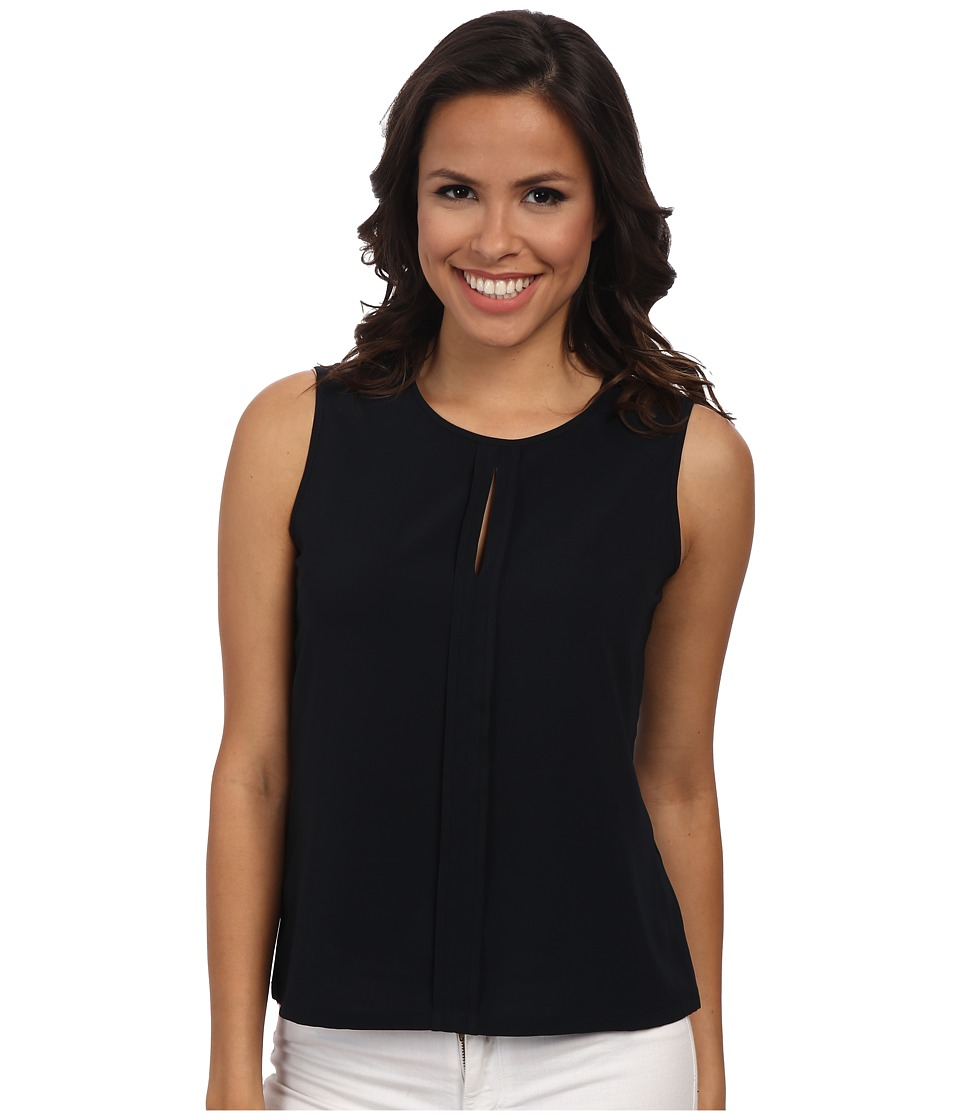 Calvin Klein - Sleeveless Pleat Neck Center Detailed Blouse (Navy) Women