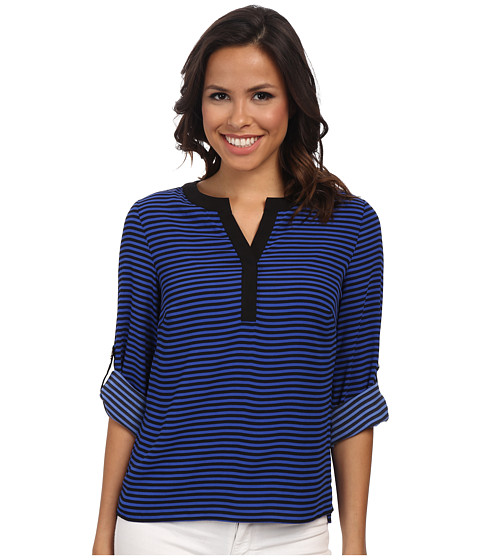 Calvin Klein - Stripped Roll Sleeve Blouse (Reggata/Black) Women