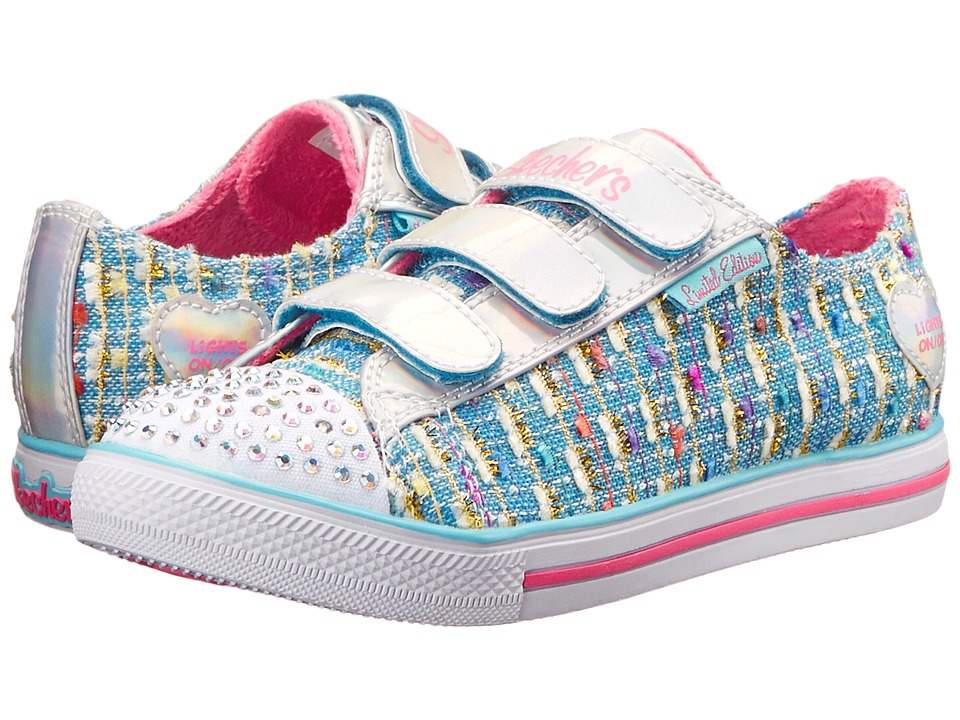 SKECHERS KIDS - Chit Chat 10534L Lights (Little Kid/Big Kid) (Light Blue) Girls Shoes