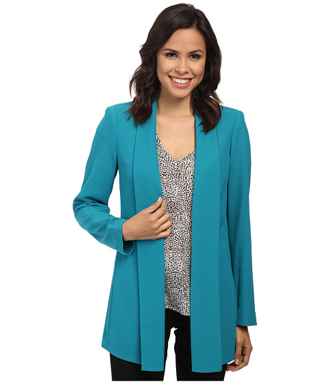 Calvin Klein - Open Front Soft Suiting Jacket (Lagoon) Women's Coat