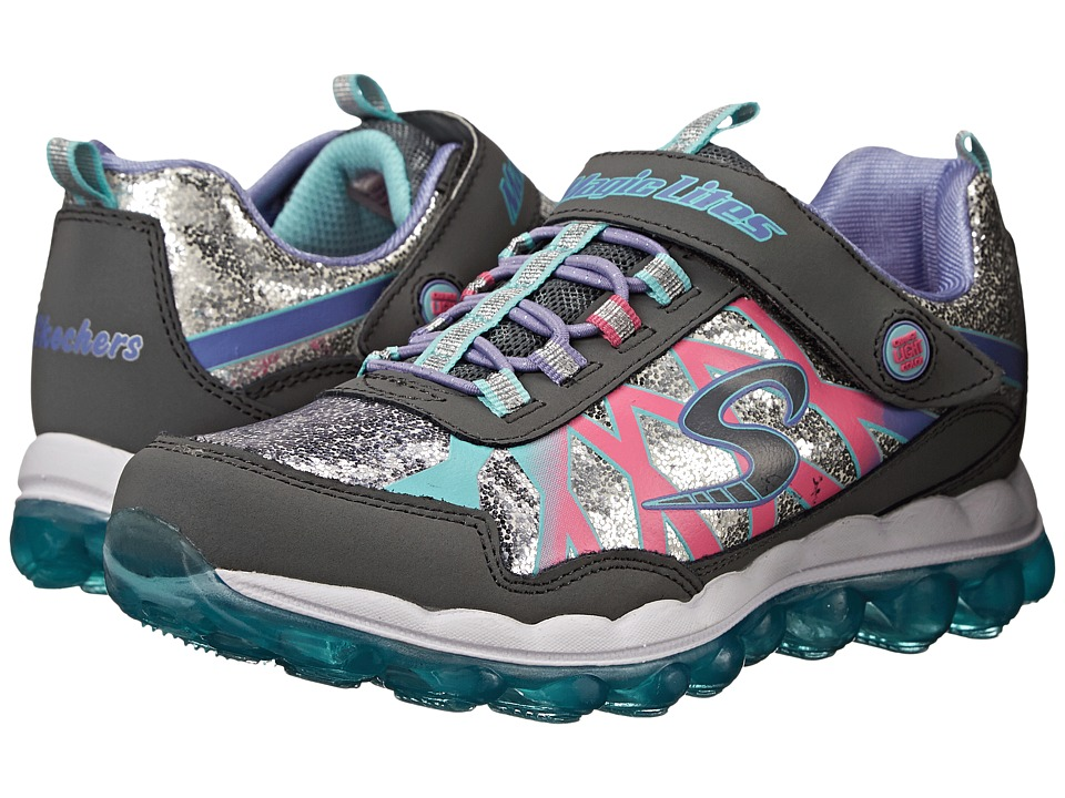 SKECHERS KIDS - Skech Glitter Lights 10542L (Little Kid) (Charcoal/Multi) Girls Shoes