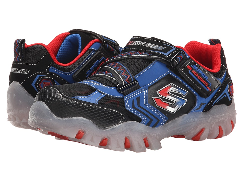 SKECHERS KIDS - Street Lightz - Switches Lights 90477L (Little Kid) (Black/Royal) Boys Shoes