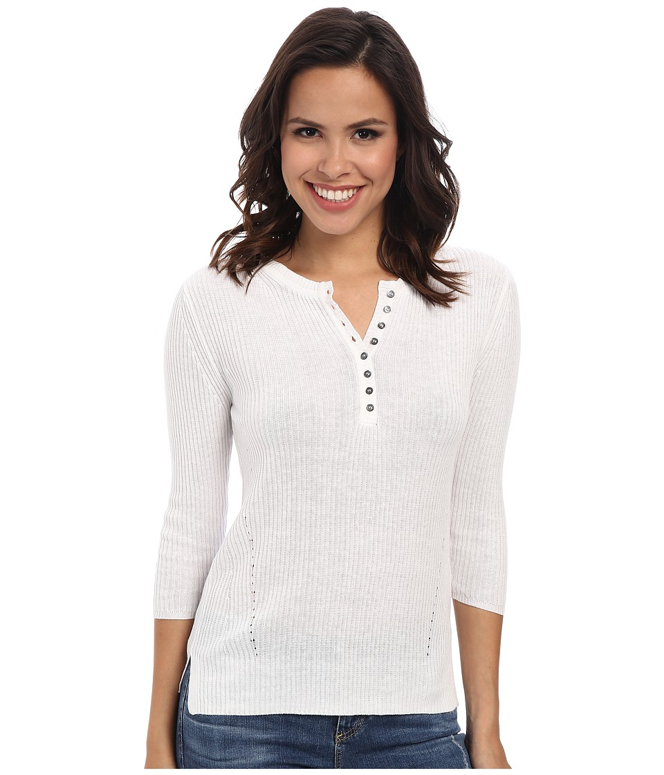 525 america - Wide Panel Rib Henley (White) Women's Long Sleeve Pullover