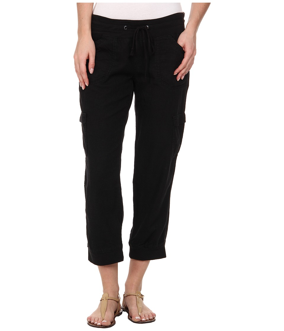 UNIONBAY - Mariana Linen Crop Pants (Black) Women's Casual Pants