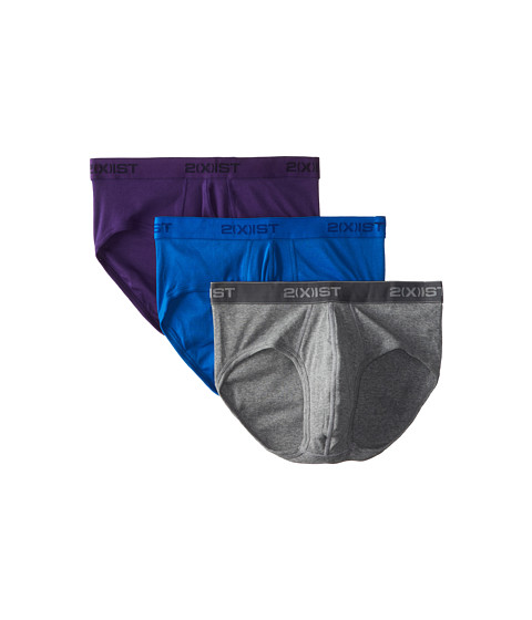 2(X)IST - 3-Pack ESSENTIAL Contour Pouch Brief (New Purple/Heather Grey/Pro Blue) Men's Underwear