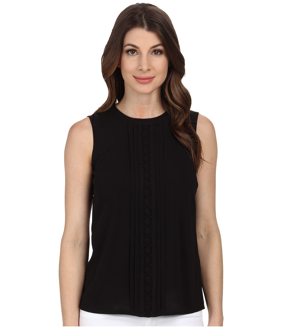 Calvin Klein - Sleeveless Blouse w/ Center Detail (Black) Women's Blouse