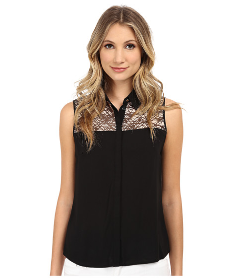 Calvin Klein - Sleeveless Button Front Blouse w/ Chiffon Neckline (Black/Cream) Women