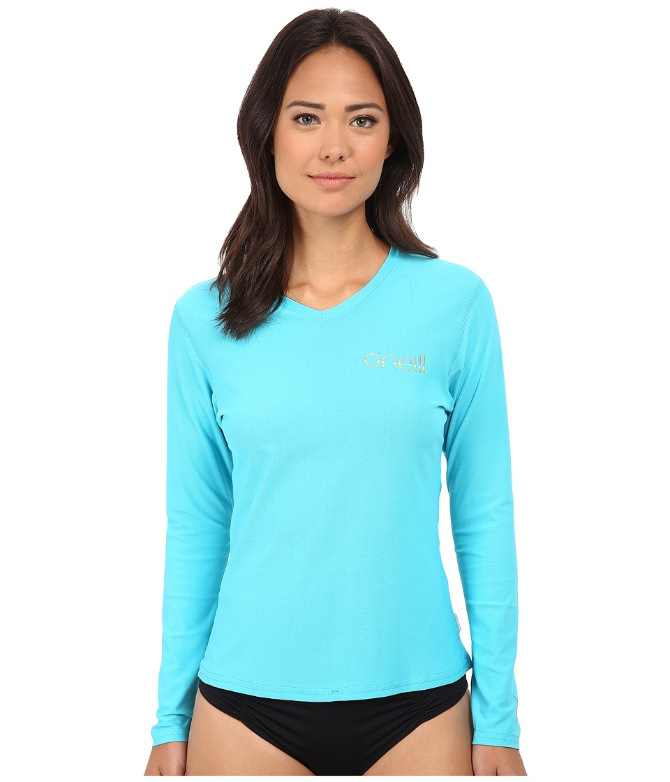 O'Neill - Tech 24-7 Long Sleeve V-Neck (Turquoise) Women's Swimwear