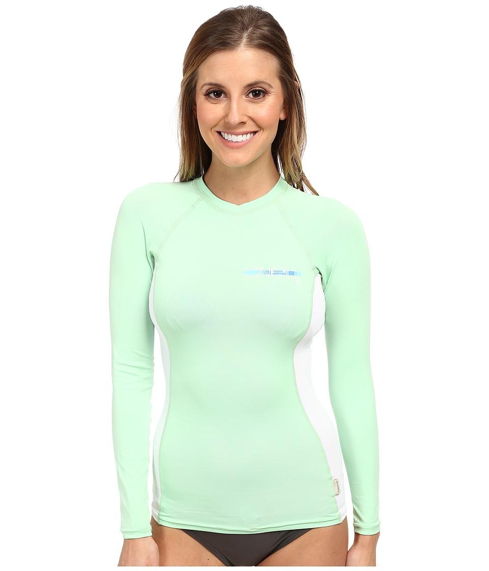 O'Neill - Skins L/S Crew (Mint/White/Mint) Women's Swimwear