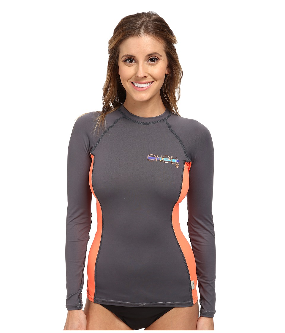 O'Neill - Skins L/S Crew (Graphite/Papaya/Graphite) Women's Swimwear