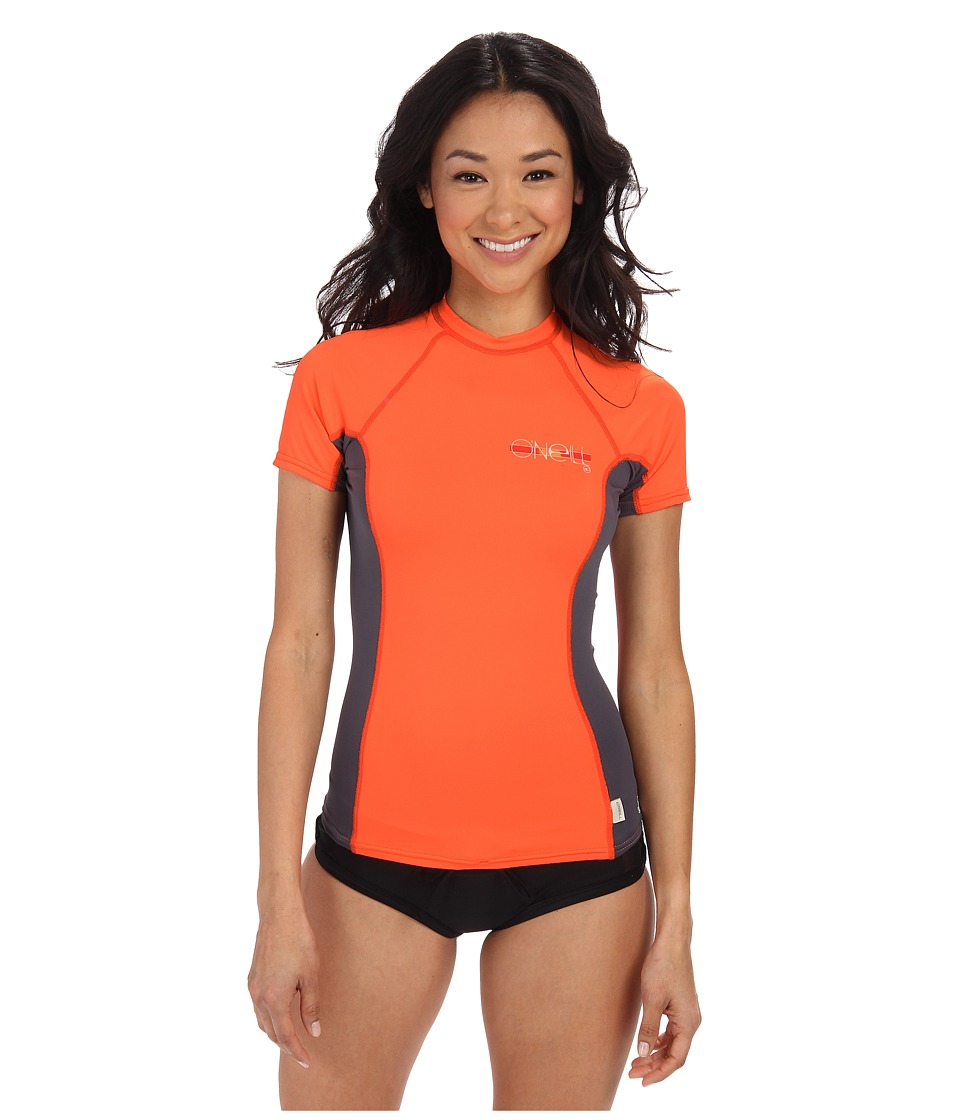 O'Neill - Skins S/S Crew (Papaya/Graphite/Papaya) Women's Swimwear
