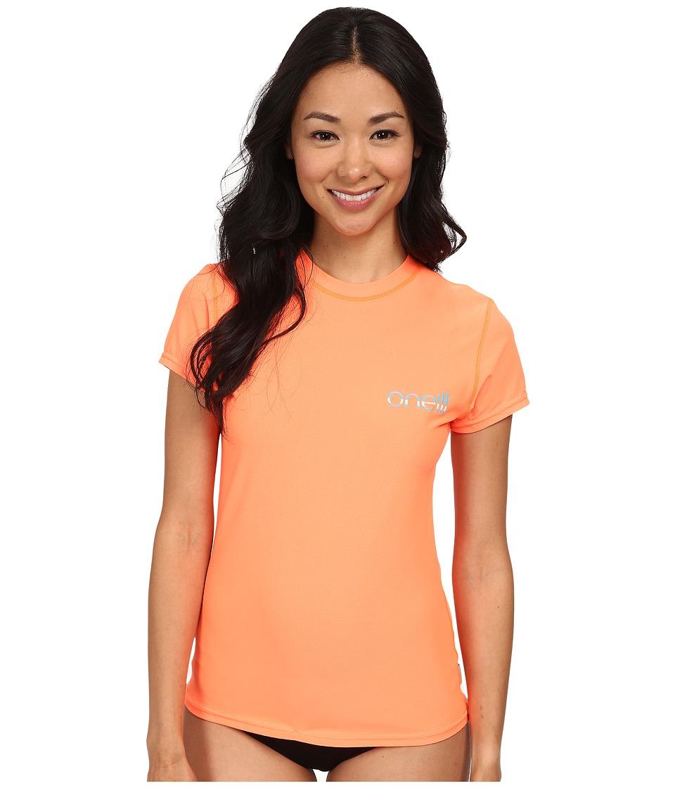 O'Neill - Tech 24-7 Short Sleeve Crew (Papaya) Women's Swimwear